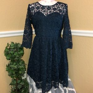 L'Atiste DarkTeal Lace 3 Quarter Inch Sleeve Dress
